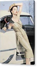 Model Wearing A Kidskin Dress Leaning On A Car Acrylic Print