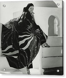 Model Wearing A Lino Cape Acrylic Print