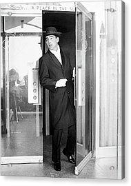 Model Wearing A Mohair Coat Acrylic Print by Richard Waite