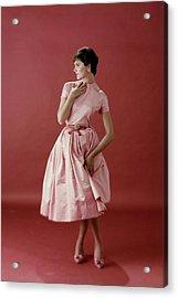 Model Wearing A Pink Satin Dress Acrylic Print