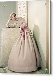 Model Wearing A Pink Shirt And Full Skirt Acrylic Print