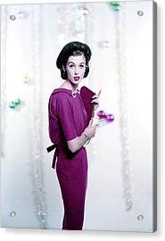 Model Wearing A Red Dress Acrylic Print