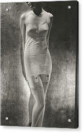Model Wearing A Silk Corset Acrylic Print