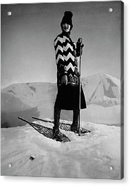 Model Wearing A Striped Sweater On Snow Acrylic Print