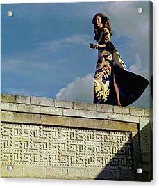 Model Wearing A Valentino Dress Acrylic Print by Henry Clarke