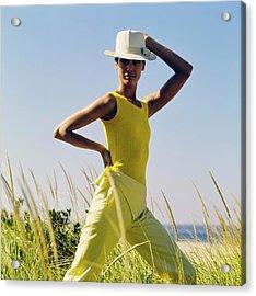 Model Wearing A Yellow Loomtogs Ensemble Acrylic Print by John Cowan