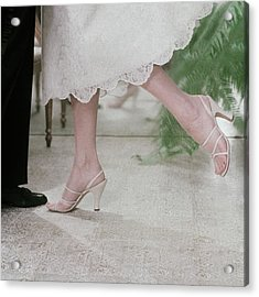 Model Wearing Sandals By Delmanette Acrylic Print