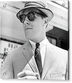 Model Wearing Sunglasses Acrylic Print by Richard Waite