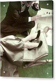 Model Wearing Velvet Pumps With A Man Sitting Acrylic Print