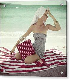 Model With A Polka Dot Bag On A Beach Acrylic Print