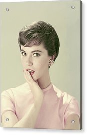 Model With Her Hand On Her Chin Acrylic Print