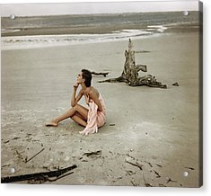 Model Wrapped In A Pink Towel On The Beach Acrylic Print