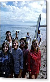Models And Surfers On A Beach Acrylic Print