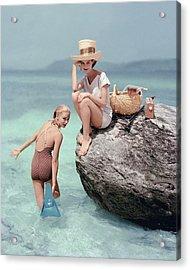 Models At A Beach Acrylic Print by Richard Rutledge