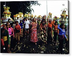Models During Procession In Bali Acrylic Print