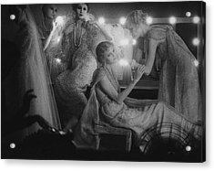 Models In A Dressing Room Acrylic Print by Moon Sarah
