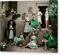 Models In Various Green Dresses Acrylic Print by Frances Mclaughlin-Gill