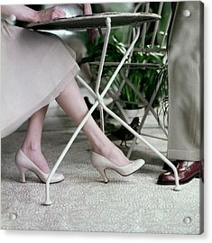Model's Legs And Feet Wearing Pumps Acrylic Print
