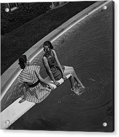 Models On A Diving Board Acrylic Print by Toni Frissell