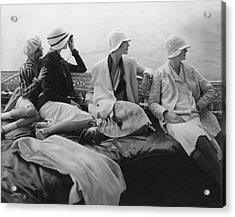 Models On A Yacht Acrylic Print by Edward Steichen