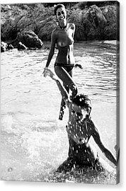 Models Splashing In Water Wearing A Monokini Acrylic Print by Elisabetta Catalano
