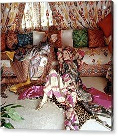 Models Viviane And Christiana Wearing Silk Print Acrylic Print