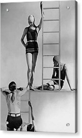 Models Wearing Bathing Suits Acrylic Print by George Hoyningen-Huene