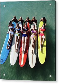 Models Wearing Bikinis Lying On Surfboards Acrylic Print by William Connors