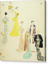 Models Wearing Jay-thorpe And Lillian Sloane Acrylic Print by Harriet Meserole