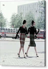 Models Wearing Plaid Skirts Acrylic Print