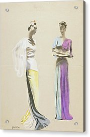 Models Wearing Satin Evening Gowns Acrylic Print