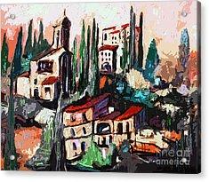 Modern Expressive Tuscan Village Art Acrylic Print