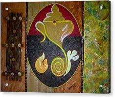 Mixed Media Ganesha Acrylic Print by Poornima Ravi
