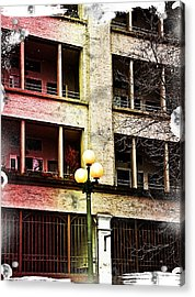 Modern Grungy City Building  Acrylic Print by Valerie Garner