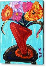 Modern Red Vase Acrylic Print by Mary Carol Williams