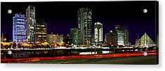 Modern Sao Paulo Skyline Near Brooklin District And Stayed Bridge Acrylic Print