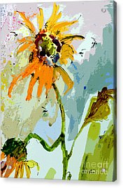 Acrylic Print featuring the painting Modern Sunflowers And Bees Art by Ginette Callaway