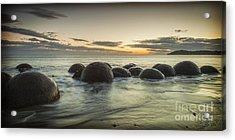 Moeraki Boulders New Zealand At Sunrise Acrylic Print by Colin and Linda McKie