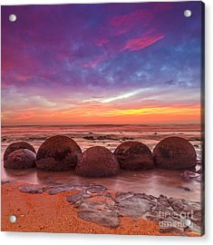 Moeraki Boulders Otago New Zealand Acrylic Print by Colin and Linda McKie