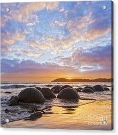Moeraki Boulders Otago New Zealand Sunrise Acrylic Print by Colin and Linda McKie