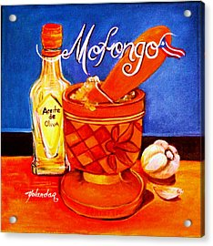 Acrylic Print featuring the painting Mofongo En El Pilon  by Yolanda Rodriguez