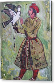 Acrylic Print featuring the painting Moghul With Eagle by Vikram Singh