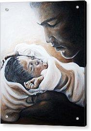 Mohammad Ali And Baby Laila Acrylic Print