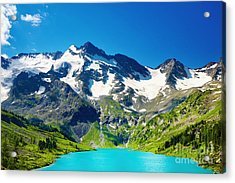 Mointain And Lake Beautiful Acrylic Print by Boon Mee