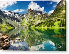 Mointain And Lake Acrylic Print by Boon Mee