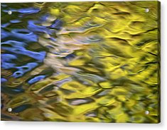 Mojave Gold Mosaic Abstract Art Acrylic Print by Christina Rollo