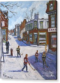 Molasses Town Hockey Rivals In The Streets Of Montreal By Pranke Acrylic Print by Richard T Pranke