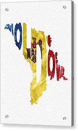 Moldova Typographic Map Flag Acrylic Print by Ayse Deniz