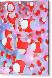 Molecular Structure Of Water Acrylic Print by Ramon Andrade 3dciencia