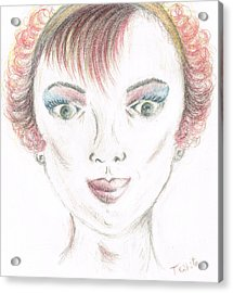 Acrylic Print featuring the drawing Mollys Makeover/ Pink Day by Teresa White